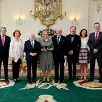 Receiving Seal of Office from President of Ireland, with my family present